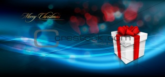 Christmas Banner with Gift Box and Ribbon Bow