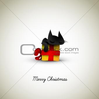 Kitten Sleeping on Christmas Gift Box
