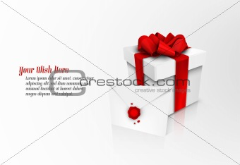 Christmas Gift Box with Red Ribbon Bow and Wax Sealed Envelope