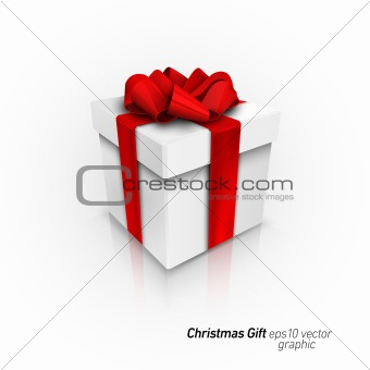 3D Gift Box with Red Ribbon Bow