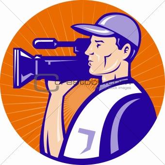 cameraman film crew with video movie camera