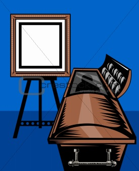 casket with picture frame on easel stand