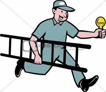 Electrician holding light bulb and ladder
