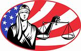 lady blindfold scales of justice american flag