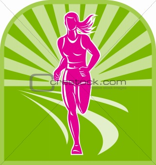 female marathon runner front view