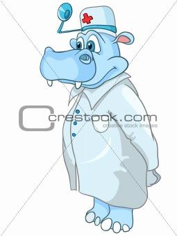 Cartoon Character Hippopotamus Doctor