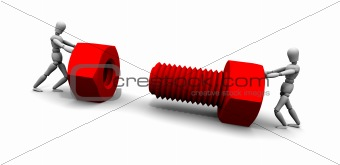 Two People Pushing Nut &amp; Bolt Together