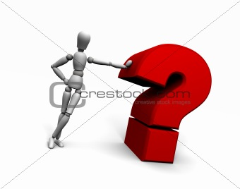 Person Leaning Against Red Question Mark