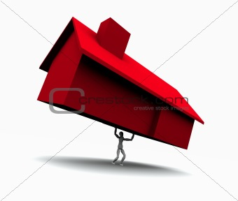Man Lifting Red House