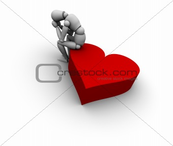 Sad Person Sitting on Heart Icon