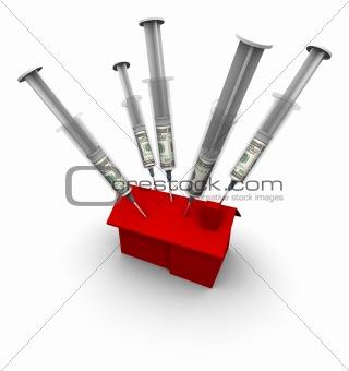 House with Syringe Needles Injecting Money
