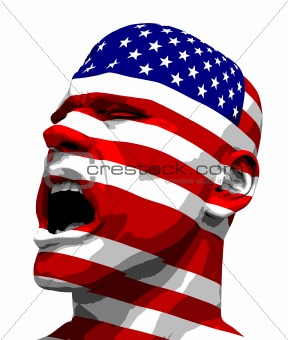 USA Flag Man Yelling