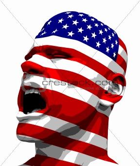 USA Flag Man Yelling