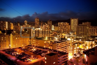 City View of Waikiki, Oahu, Hawaii at Night