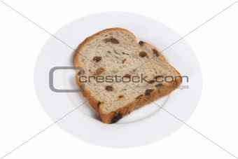 Slice of Raisin Bread on Plate