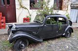 BLACK VINTAGE CAR TRASNFORMED IN GREENHOUSE, COLONIA DEL SACRAMENTO, URUGUAY