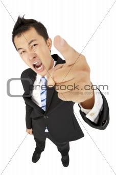 excited businessman pointing you and shouting