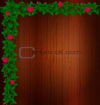 background wood and rose