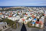 View from the tower of the church of Hallgrimur in Reykjavik.