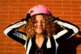 Cool girl with helmet on