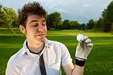 Young man excited about golf