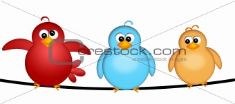 Three Birds on a Wire Illustration