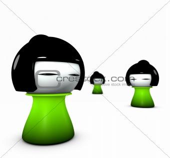 3d render of 3 funny green girl japanese doll type