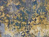worn grunge blue green and yellow wall