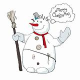 Cute snowman llustration. Vector, EPS8