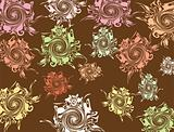 Brown background with varicoloured elements