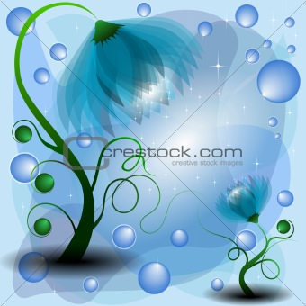 Background with magic mum and baby azure flowers