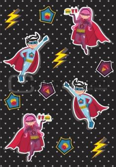 Cartoons superhero kids pattern