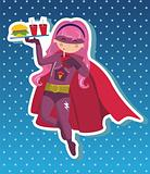 Fast food superhero girl cartoon.