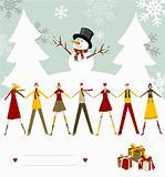 Snowman Happy Christmas card.