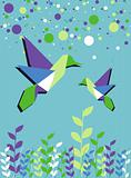 Origami hummingbird couple spring time