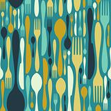 Seamless cutlery pattern in blue