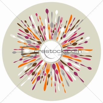 Circle restaurant background with cutlery colors