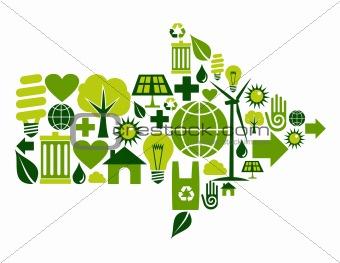 Green arrow symbol icons