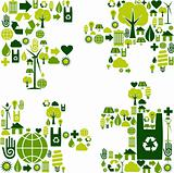 Puzzle piece with environmental icons