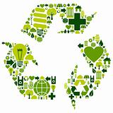 Recycle symbol with environmental icons