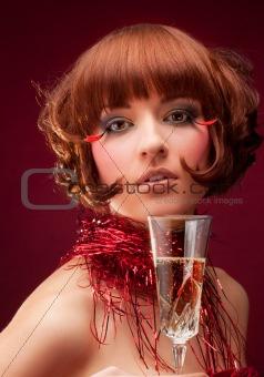 Beautiful woman with champagne glass