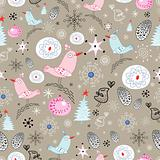 winter pattern with birds and snowflakes