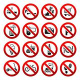Set icons Prohibited symbols Shop signs