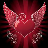 heart with wings, red illustration