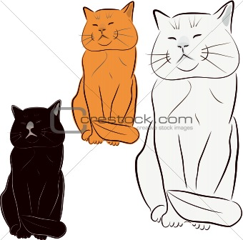 Cat, pet, vector drawing, illustration. Sculpture of a cat.