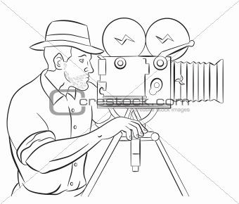 Cameraman vintage movie film camera shooting