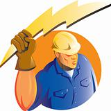 Construction worker electrician lightning bolt