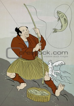 japanese fisherman catching trout fish