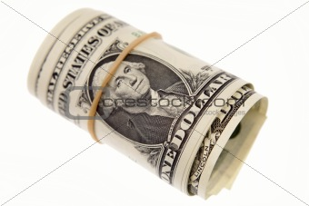 Roll of U.S. banknotes