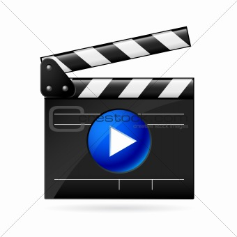 Open movie clapboard on white background
